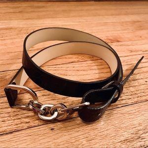 Leather black snakeskin texture belt M